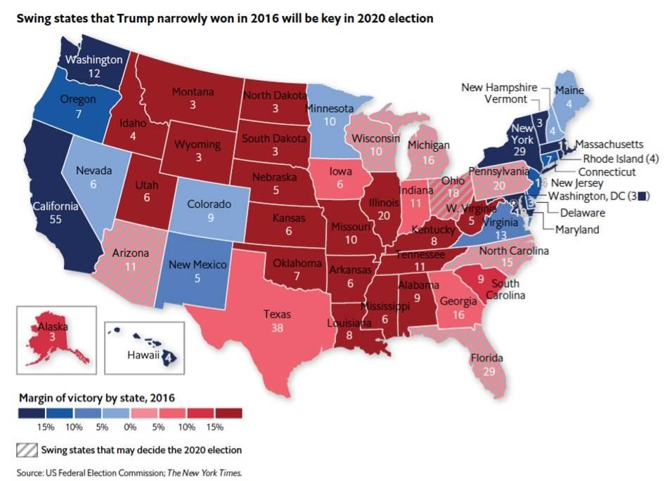 عدد مقاعد كل ولاية في المجمع الانتخابي وميول التصويت لديها